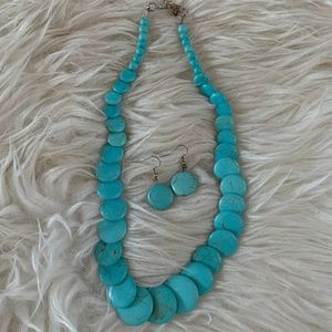 Jewelry - Faux Turquoise Necklace and Earring Set